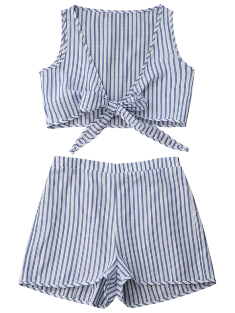 fancy Plunge Striped Front Tied Top with Shorts - BLUE STRIPE M Mobile