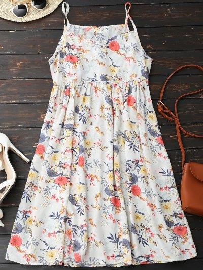 كامي الزهور اللباس اللباس - أبيض M