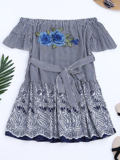 Stripes Floral Off The Shoulder A-Line Dress - Stripe