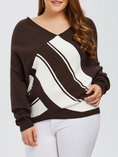 Color Block Plus Size V Neck Sweater - Coffee