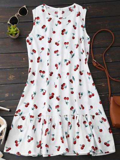 Sleeveless Cherry Ruffle Dress - White