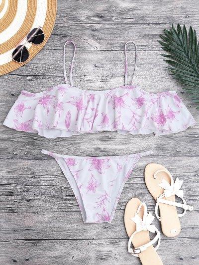 Off The Shoulder V String Bikini Set - White And Purple