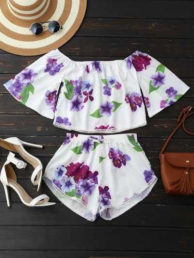 Off Shoulder Floral Crop Top And Shorts - White