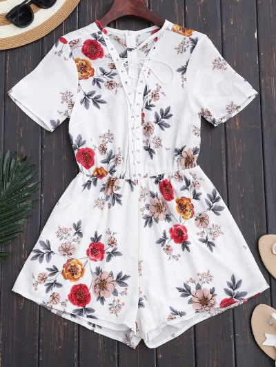 Lace Up Floral Choker Romper - White