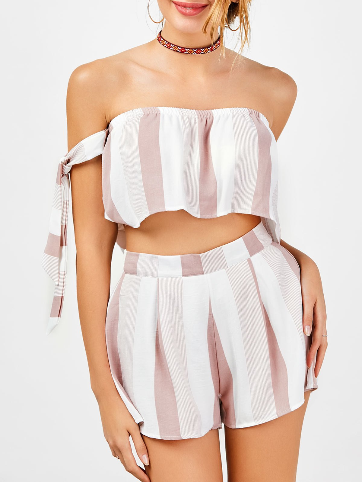 Strapless Stripe Crop Top and High Waisted Shorts 211932001