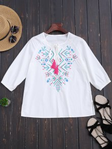 Ralgan Sleeve Embroidered Blouse