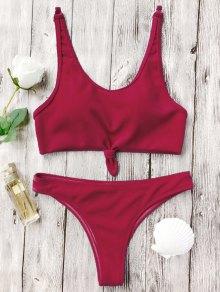 Knotted Bralette High Cut Bikini Set - Red L