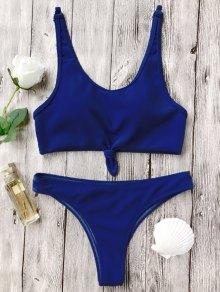 Ensemble Bikini Décolleté Plongeant Brassière Noué  - Bleu S