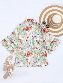 Dolman Sleeve Floral Oversized Blouse