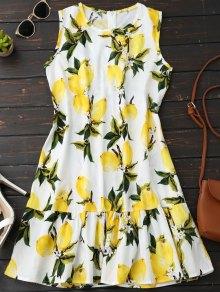 بلا أكمام ثوب الكشكشة الليمون - الأصفر L