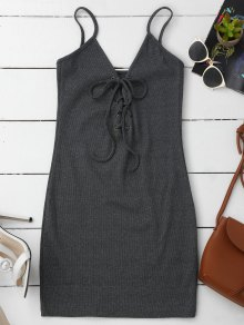 Lace Up Cami Knit Bodycon Dress - Gray