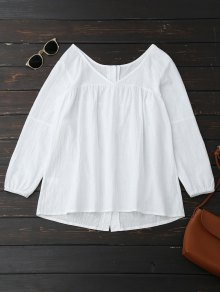 V Neck Back Button Up Peasant Top - White S