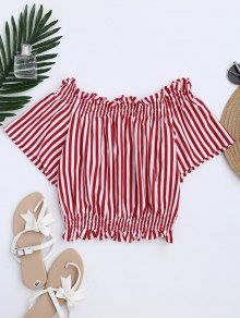 Stripes Bowknot Off The Shoulder Top