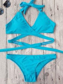 Low Cut Halter Wrap Bikini - Sky Blue