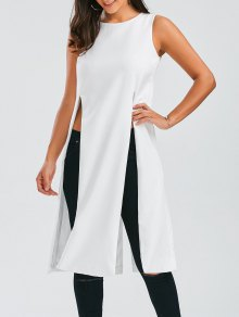 Longline Sleeveless High Slit Top