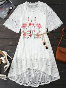 Rope Belt Lace Floral Dress With Tank Top - White