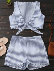 Plunge Striped Front Tied Top With Shorts - Blue Stripe