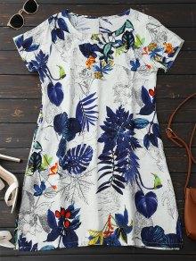 Leaf Print Linen Smock Dress