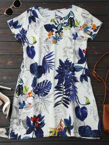 Leaf Print Linen Smock Dress - Deep Blue Xl