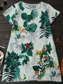 Leaf Print Linen Smock Dress - Green Xl