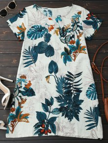 Leaf Print Linen Smock Dress - Peacock Blue M