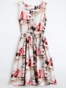 Midi sin mangas con cordón vestido floral