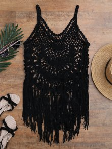 Tasselled Crochet Tank Top Cover Up