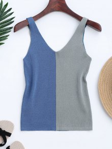 Knitting Two Tone Tank Top - Blue