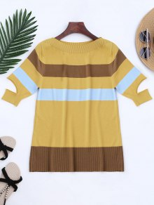 Knitting Color Block Split Sleeve Top
