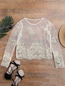 Golden Thread Sheer Mesh Cover Up Top