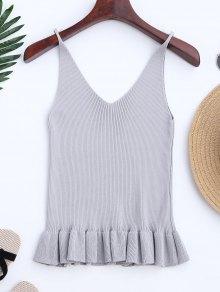 Knitting Ruffles Ribbed Tank Top