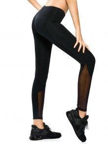 Mesh Panel Skinny Yoga Leggings - Black