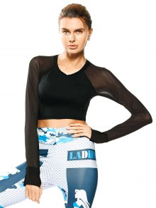 Mesh Panel Cropped Sporty Thumbhole Top - Black