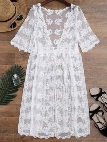 Embroidered Sheer Lace Beach Cover Up