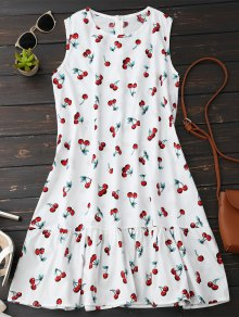 Sleeveless Cherry Ruffle Dress - White