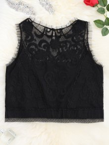 Lace Keyhole See-Through Tank Top - Black