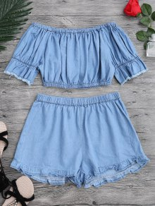 Off The Shoulder Cropped Top And Ruffles Shorts - Blue