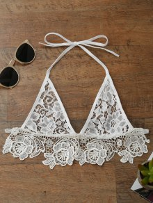 Longline Sheer Lace Bra Top - White M