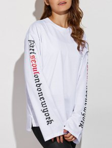 Letter Patterned Sweatshirt - White L