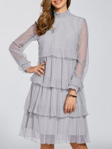 Layered Chiffon Polka Dot Dress - Gray L