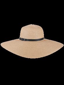 Oversize Brim Ribbon Bowknot Pinstripe Straw Hat