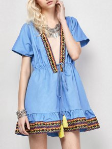 Embroidered Plunging Neckline Dress - Blue Xl