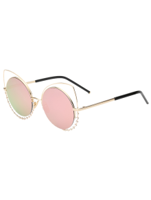 Rhinestone Round Hollow Out Cat Eye Sunglasses