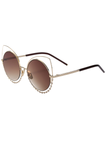 Rhinestone Round Hollow Out Cat Eye Sunglasses - Tea-colored