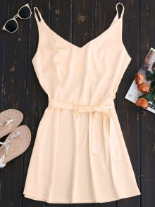 Mini Cami Slip Dress With Choker Strap - Apricot