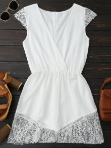 Lace Panel Plunge Sleeveless Chiffon Romper