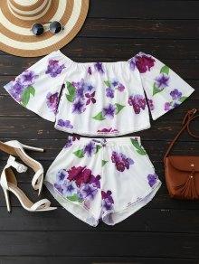 Pantalones cortos de hombro y corte floral