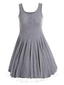 Knitting Half Button Fit and Flare Dress