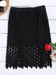Lace Cut Out Sheath Skirt