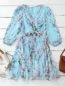 Floral Surplice Flowy Dress